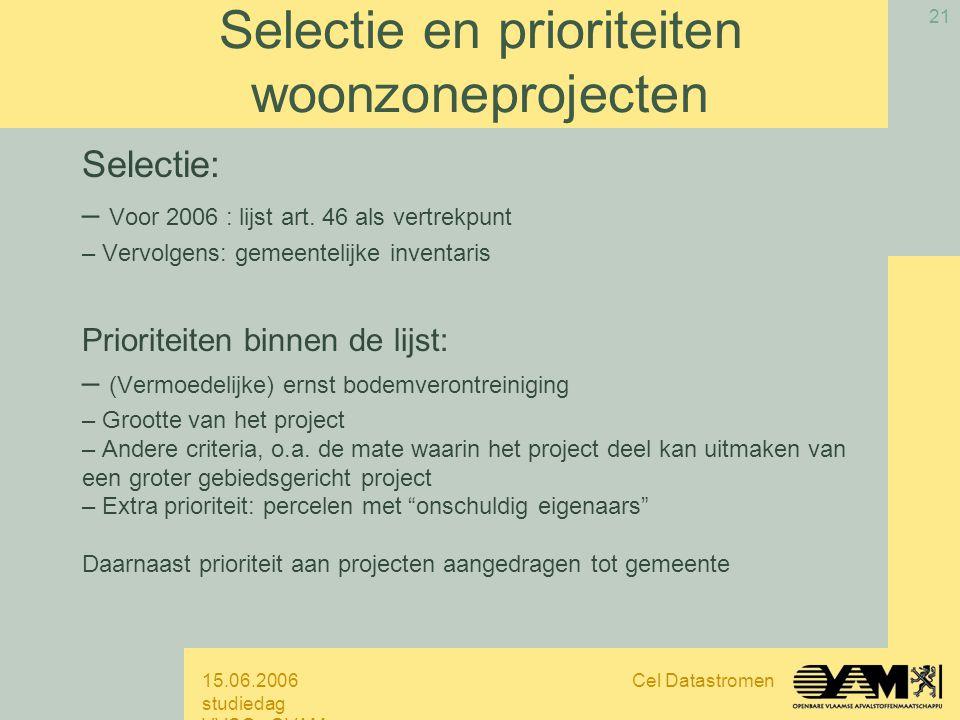 15.06.2006 studiedag VVSG - OVAM Cel Datastromen 21 Selectie en prioriteiten woonzoneprojecten Selectie: – Voor 2006 : lijst art.