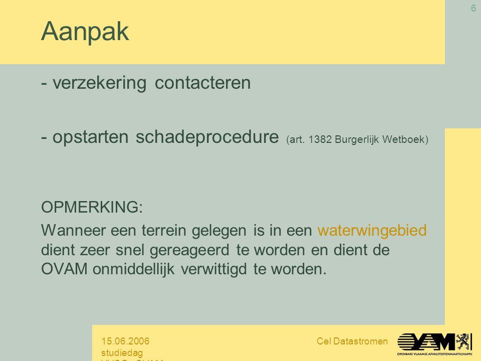 15.06.2006 studiedag VVSG - OVAM Cel Datastromen 6 Aanpak - verzekering contacteren - opstarten schadeprocedure (art.