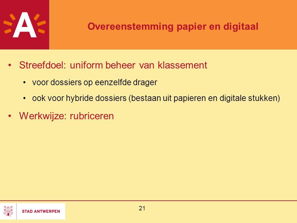 21 Overeenstemming papier en digitaal Streefdoel: uniform beheer van klassement voor dossiers op eenzelfde drager ook voor hybride dossiers (bestaan u
