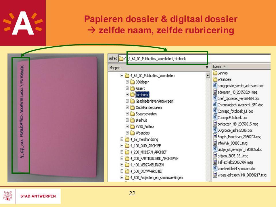 22 Papieren dossier & digitaal dossier  zelfde naam, zelfde rubricering