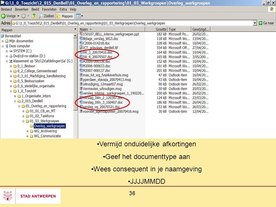 36 Vermijd onduidelijke afkortingen Geef het documenttype aan Wees consequent in je naamgeving JJJJMMDD