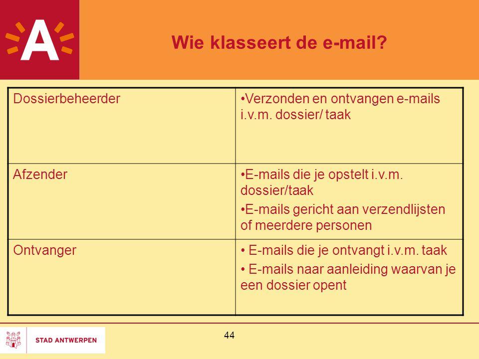 44 Wie klasseert de e-mail? DossierbeheerderVerzonden en ontvangen e-mails i.v.m. dossier/ taak AfzenderE-mails die je opstelt i.v.m. dossier/taak E-m