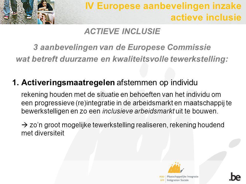ACTIEVE INCLUSIE 3 aanbevelingen van de Europese Commissie wat betreft duurzame en kwaliteitsvolle tewerkstelling: 1.Activeringsmaatregelen afstemmen