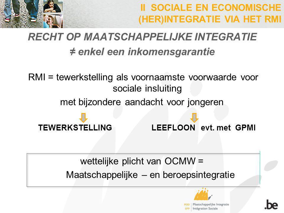 RECHT OP MAATSCHAPPELIJKE INTEGRATIE ≠ enkel een inkomensgarantie RMI = tewerkstelling als voornaamste voorwaarde voor sociale insluiting met bijzonde