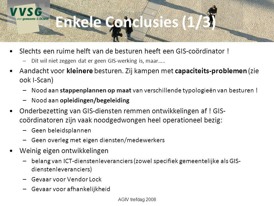 Enkele Conclusies (1/3) Slechts een ruime helft van de besturen heeft een GIS-coördinator ! –Dit wil niet zeggen dat er geen GIS-werking is, maar….. A
