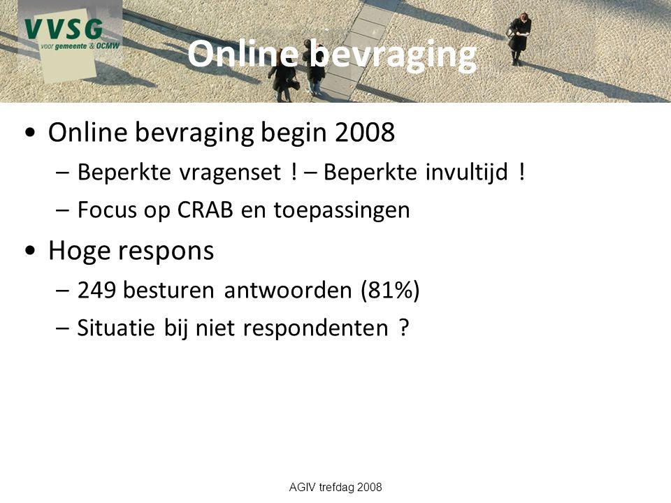 Online bevraging Online bevraging begin 2008 –Beperkte vragenset ! – Beperkte invultijd ! –Focus op CRAB en toepassingen Hoge respons –249 besturen an