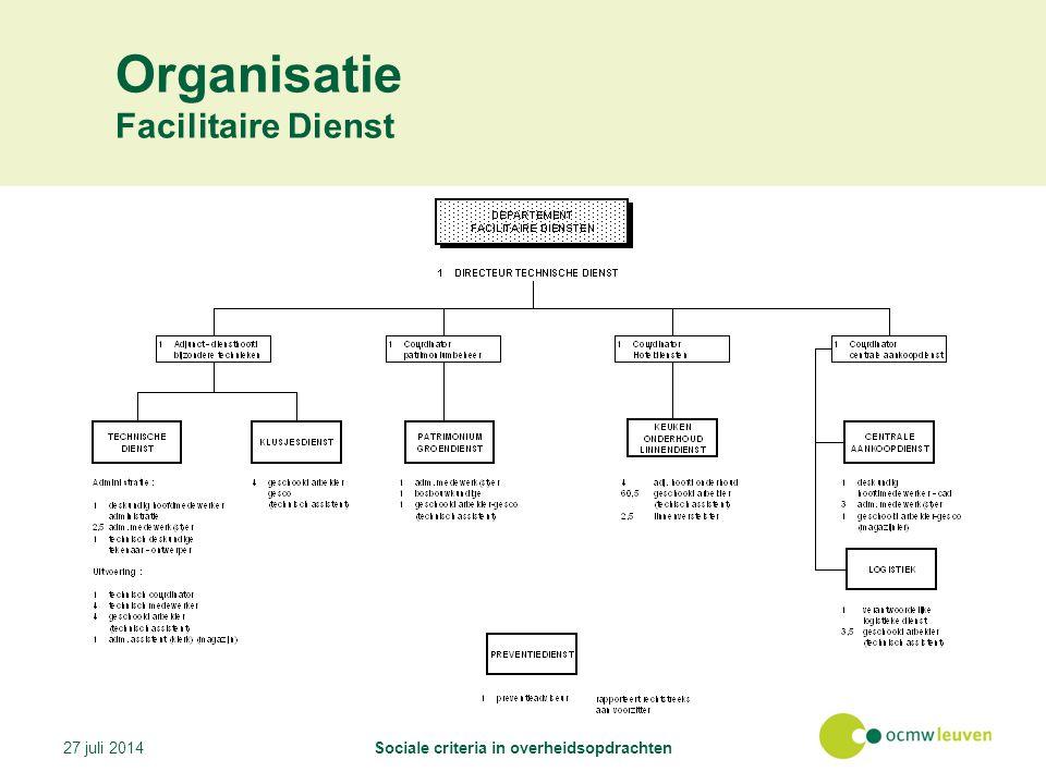 Organisatie Facilitaire Dienst 27 juli 2014Sociale criteria in overheidsopdrachten