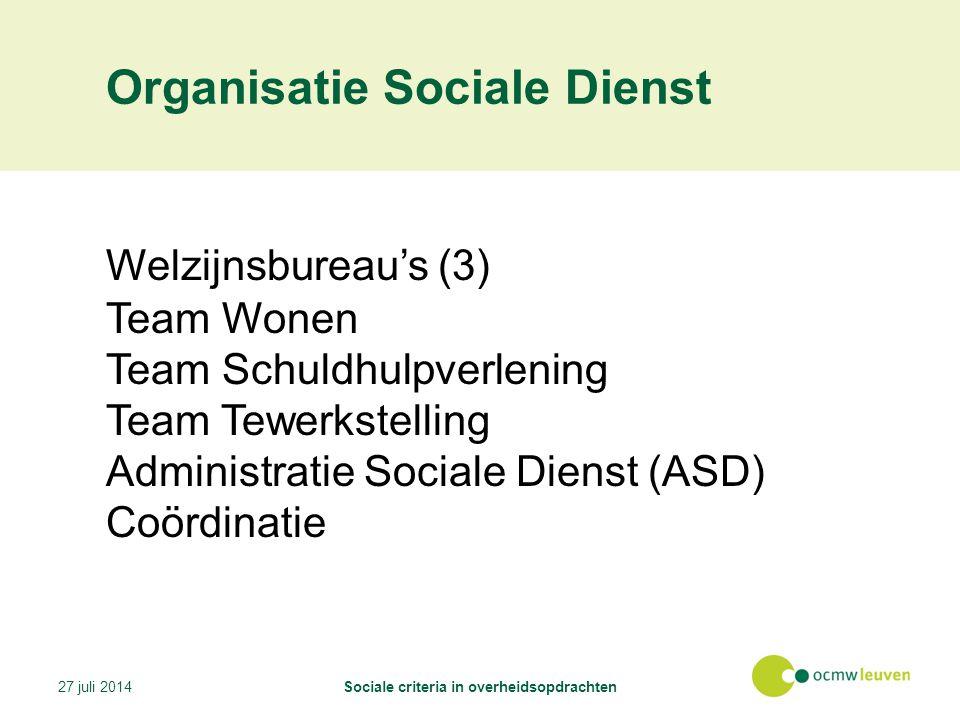 Organisatie Sociale Dienst Welzijnsbureau's (3) Team Wonen Team Schuldhulpverlening Team Tewerkstelling Administratie Sociale Dienst (ASD) Coördinatie 27 juli 2014Sociale criteria in overheidsopdrachten