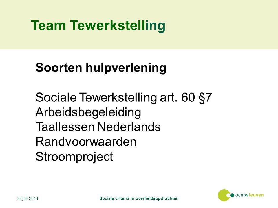 Team Tewerkstelling Soorten hulpverlening Sociale Tewerkstelling art.
