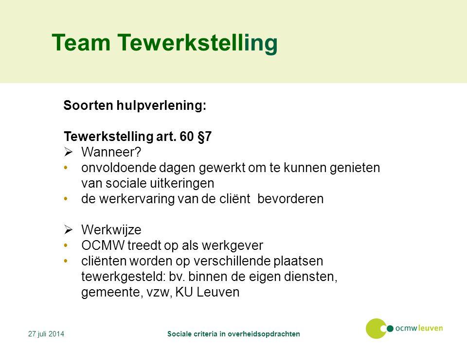 Team Tewerkstelling Soorten hulpverlening: Tewerkstelling art.