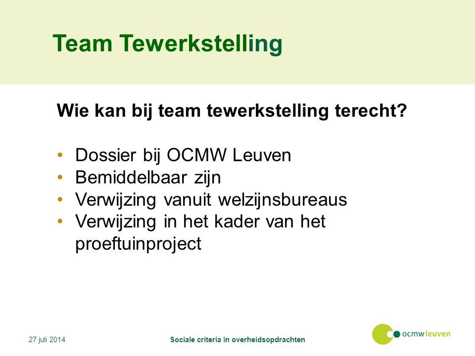 Team Tewerkstelling Wie kan bij team tewerkstelling terecht.