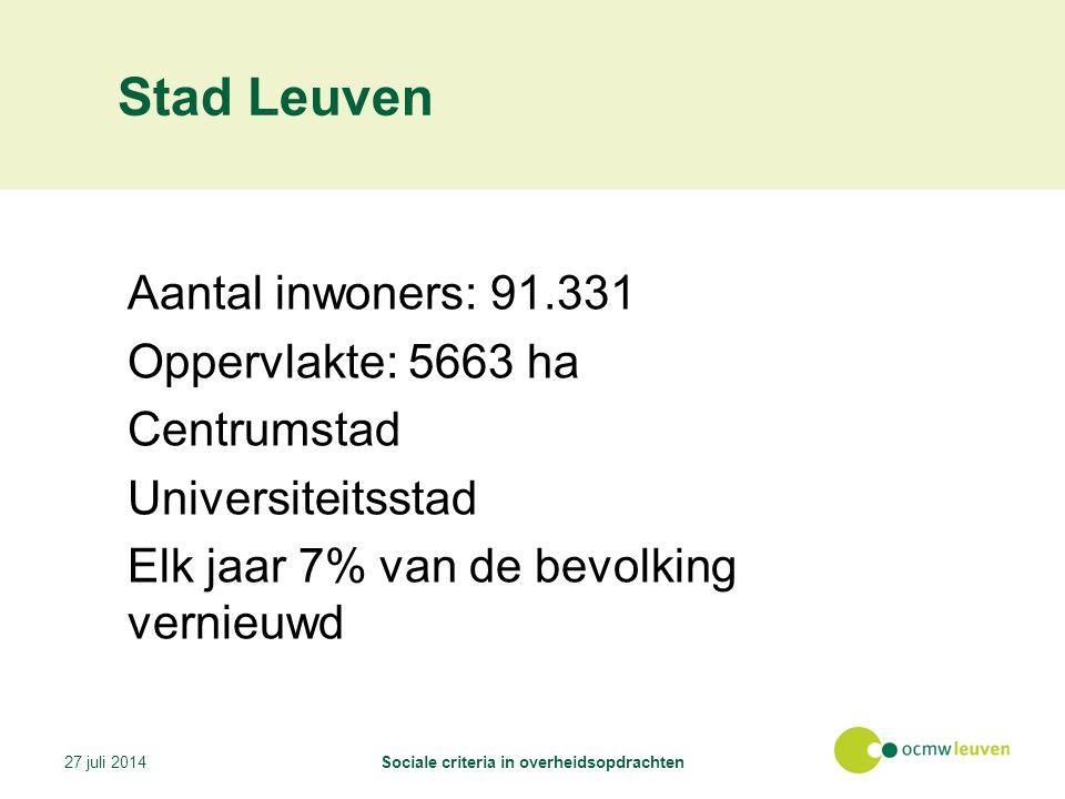 Stad Leuven Aantal inwoners: 91.331 Oppervlakte: 5663 ha Centrumstad Universiteitsstad Elk jaar 7% van de bevolking vernieuwd 27 juli 2014Sociale criteria in overheidsopdrachten
