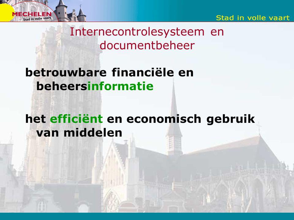 Internecontrolesysteem en documentbeheer betrouwbare financiële en beheersinformatie het efficiënt en economisch gebruik van middelen