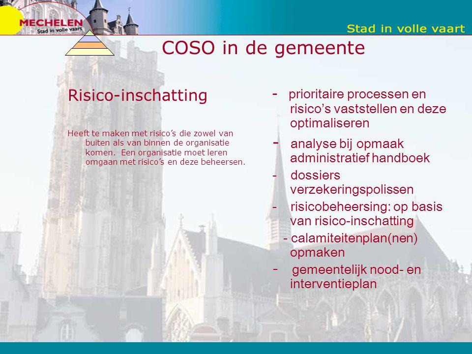 COSO in de gemeente Risico-inschatting Heeft te maken met risico's die zowel van buiten als van binnen de organisatie komen.