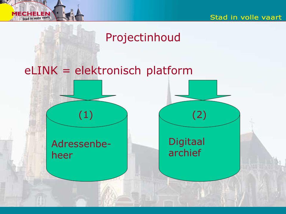 Projectinhoud eLINK = elektronisch platform Adressenbe- heer Digitaal archief (1) (2)
