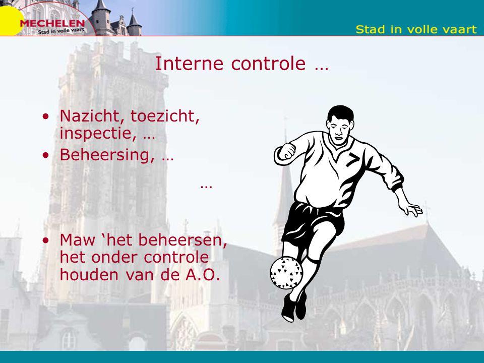 … Interne controle … Nazicht, toezicht, inspectie, … Beheersing, … Maw 'het beheersen, het onder controle houden van de A.O.