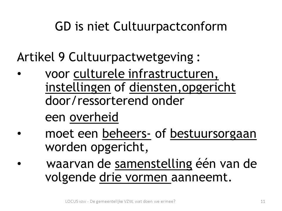 GD is niet Cultuurpactconform Artikel 9 Cultuurpactwetgeving : voor culturele infrastructuren, instellingen of diensten,opgericht door/ressorterend onder een overheid moet een beheers- of bestuursorgaan worden opgericht, waarvan de samenstelling één van de volgende drie vormen aanneemt.