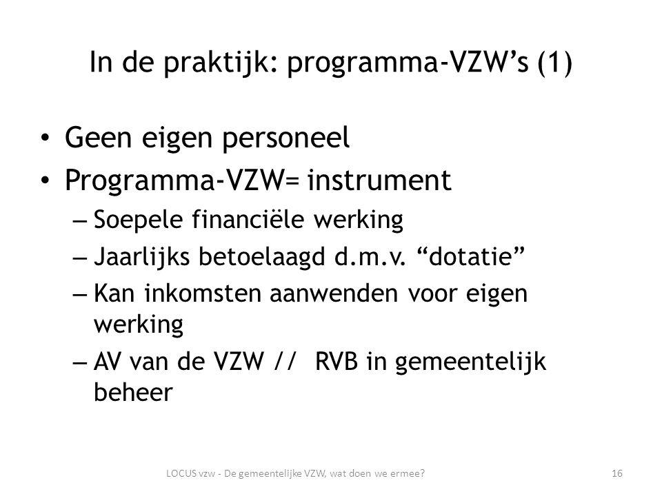 In de praktijk: programma-VZW's (1) Geen eigen personeel Programma-VZW= instrument – Soepele financiële werking – Jaarlijks betoelaagd d.m.v.