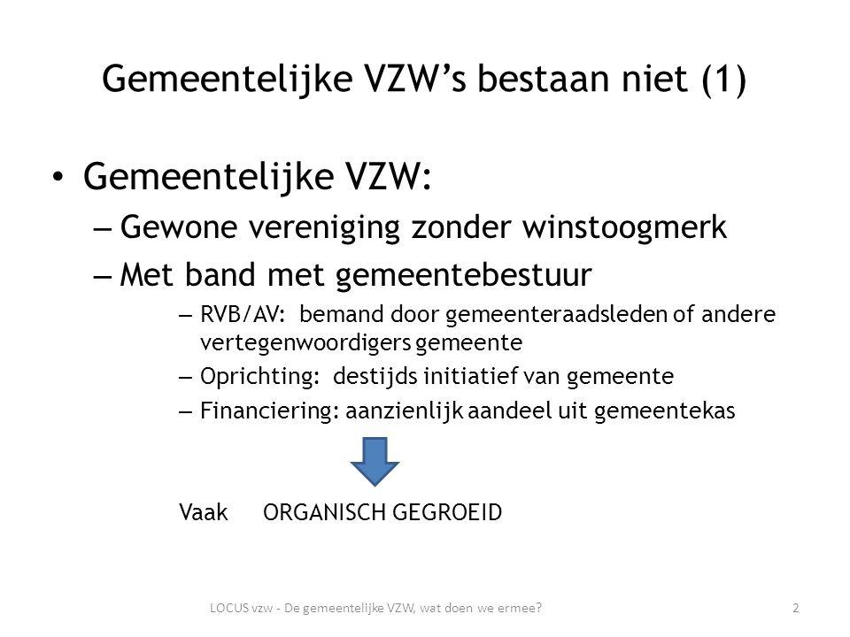 Gemeentelijke VZW's bestaan niet (2) Gemeentedecreet – Alle structuren die zich met taken van GEMEENTELIJK BELANG bezighouden – Omvormen tegen einde lopende legislatuur (1 januari 2013) 3LOCUS vzw - De gemeentelijke VZW, wat doen we ermee?