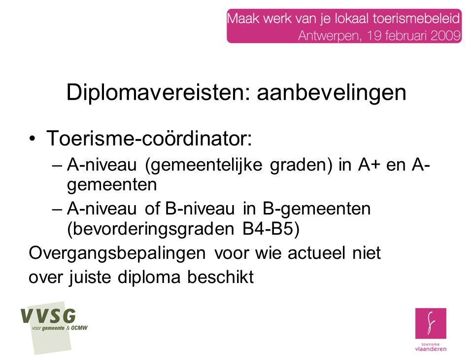Diplomavereisten: aanbevelingen Toerisme-coördinator: –A-niveau (gemeentelijke graden) in A+ en A- gemeenten –A-niveau of B-niveau in B-gemeenten (bevorderingsgraden B4-B5) Overgangsbepalingen voor wie actueel niet over juiste diploma beschikt