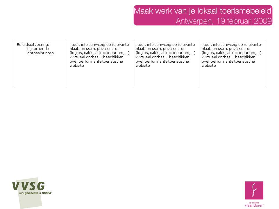 Beleidsuitvoering: bijkomende onthaalpunten -toer.