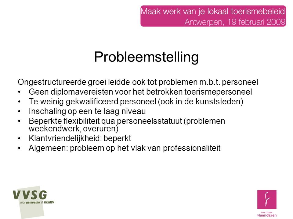Probleemstelling Ongestructureerde groei leidde ook tot problemen m.b.t.