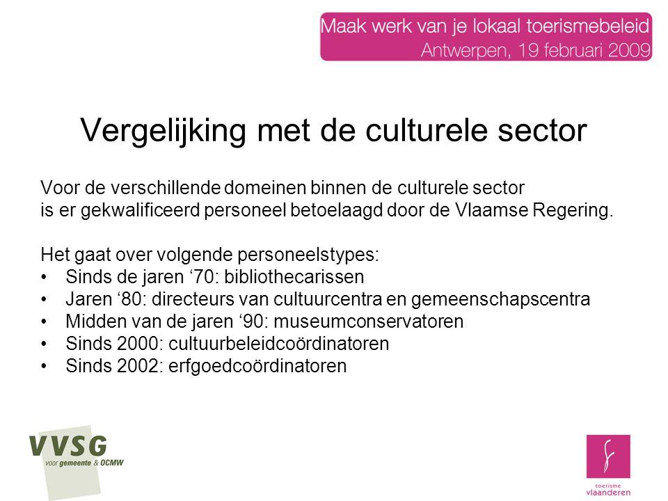 Vergelijking met de culturele sector Voor de verschillende domeinen binnen de culturele sector is er gekwalificeerd personeel betoelaagd door de Vlaamse Regering.