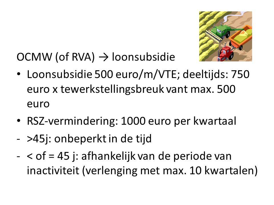OCMW (of RVA) → loonsubsidie Loonsubsidie 500 euro/m/VTE; deeltijds: 750 euro x tewerkstellingsbreuk vant max.