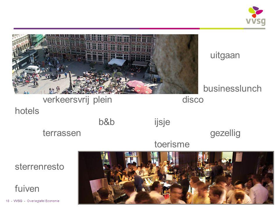 VVSG - Overlegtafel Economie18 -19.10.2012 uitgaan businesslunch verkeersvrij pleindisco hotels b&bijsje terrassengezellig toerisme sterrenresto fuive