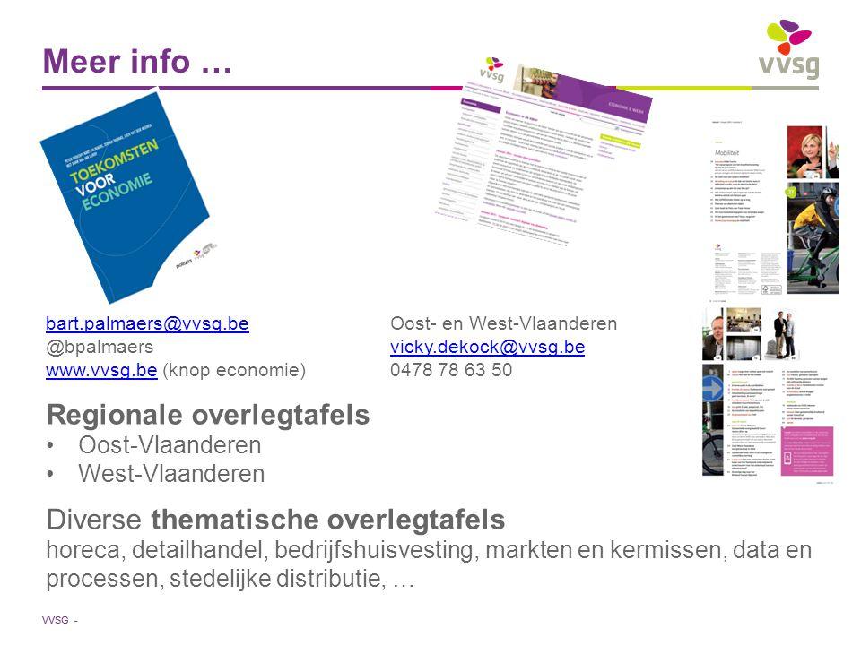 VVSG - Meer info … bart.palmaers@vvsg.bebart.palmaers@vvsg.beOost- en West-Vlaanderen @bpalmaersvicky.dekock@vvsg.bevicky.dekock@vvsg.be www.vvsg.beww