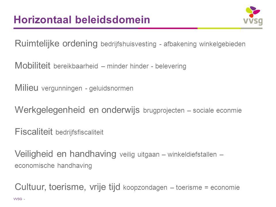 VVSG - Horizontaal beleidsdomein Ruimtelijke ordening bedrijfshuisvesting - afbakening winkelgebieden Mobiliteit bereikbaarheid – minder hinder - bele