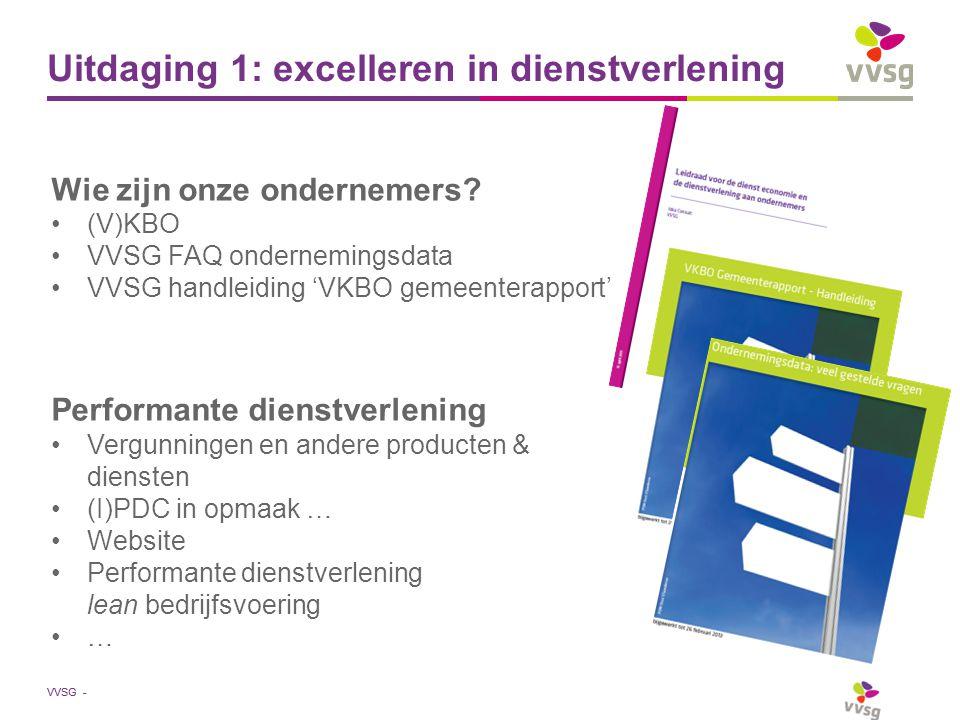 Uitdaging 1: excelleren in dienstverlening Wie zijn onze ondernemers? (V)KBO VVSG FAQ ondernemingsdata VVSG handleiding 'VKBO gemeenterapport' Perform