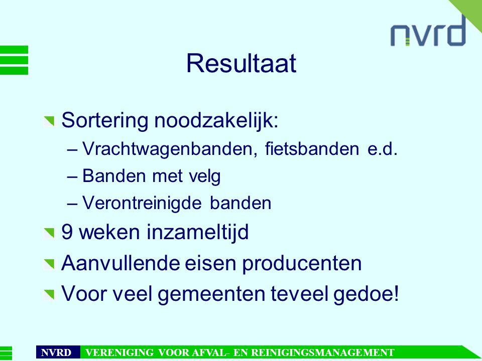 7 oktober 1999presentatie Maarten Goorhuis, beleidsmedewerker NVRD NVRD VERENIGING VOOR AFVAL- EN REINIGINGSMANAGEMENT Resultaat Sortering noodzakelijk: –Vrachtwagenbanden, fietsbanden e.d.