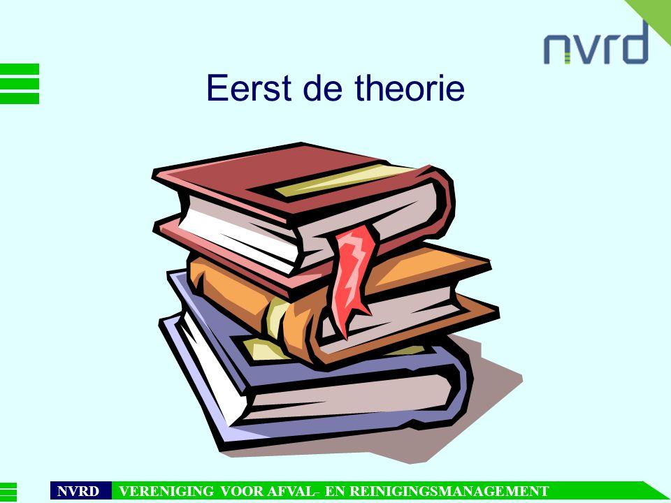 7 oktober 1999presentatie Maarten Goorhuis, beleidsmedewerker NVRD NVRD VERENIGING VOOR AFVAL- EN REINIGINGSMANAGEMENT Eerst de theorie
