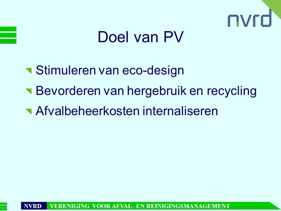 7 oktober 1999presentatie Maarten Goorhuis, beleidsmedewerker NVRD NVRD VERENIGING VOOR AFVAL- EN REINIGINGSMANAGEMENT Doel van PV Stimuleren van eco-design Bevorderen van hergebruik en recycling Afvalbeheerkosten internaliseren