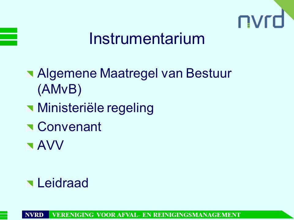7 oktober 1999presentatie Maarten Goorhuis, beleidsmedewerker NVRD NVRD VERENIGING VOOR AFVAL- EN REINIGINGSMANAGEMENT Instrumentarium Algemene Maatregel van Bestuur (AMvB) Ministeriële regeling Convenant AVV Leidraad