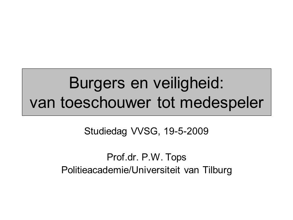 Burgers en veiligheid: van toeschouwer tot medespeler Studiedag VVSG, 19-5-2009 Prof.dr. P.W. Tops Politieacademie/Universiteit van Tilburg