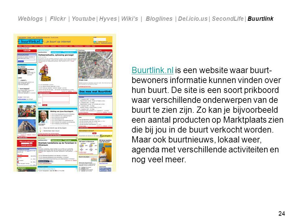 24 Buurtlink.nlBuurtlink.nl is een website waar buurt- bewoners informatie kunnen vinden over hun buurt. De site is een soort prikboord waar verschill