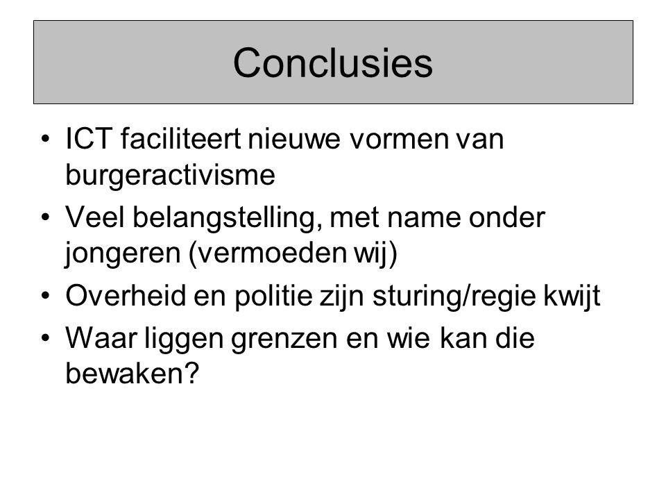 Conclusies ICT faciliteert nieuwe vormen van burgeractivisme Veel belangstelling, met name onder jongeren (vermoeden wij) Overheid en politie zijn stu