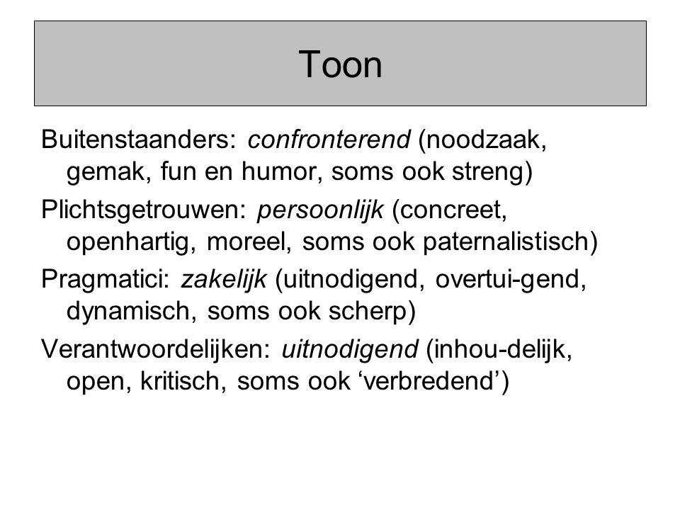 Toon Buitenstaanders: confronterend (noodzaak, gemak, fun en humor, soms ook streng) Plichtsgetrouwen: persoonlijk (concreet, openhartig, moreel, soms