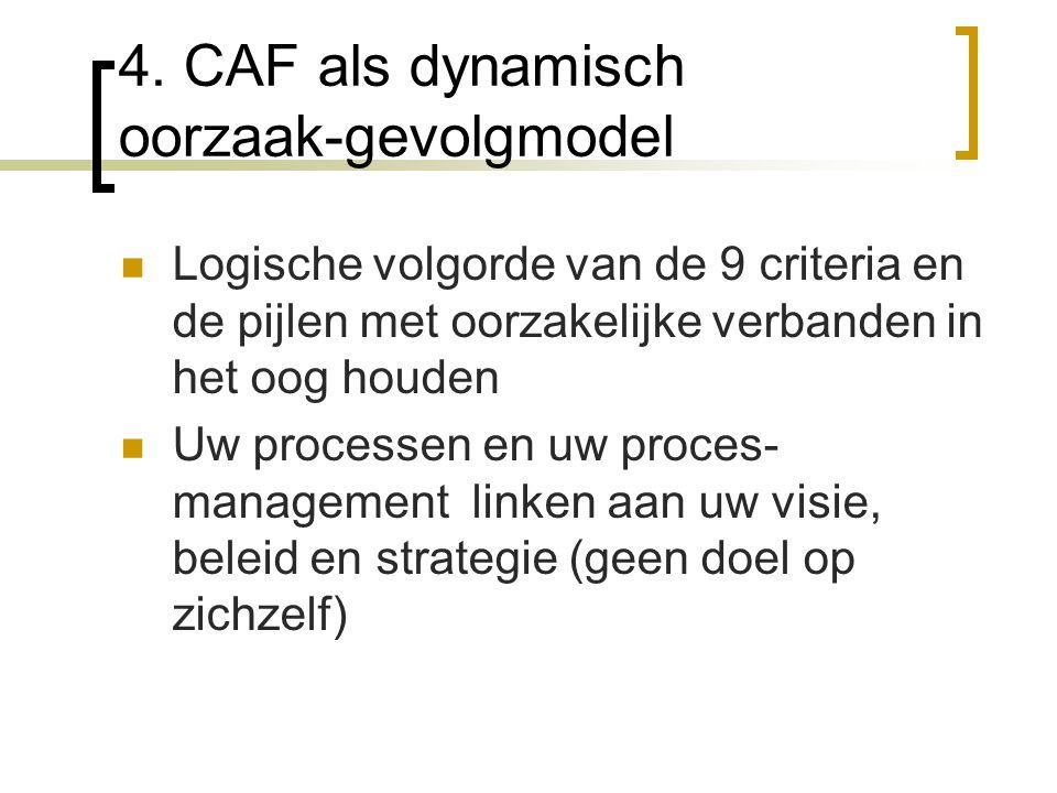4. CAF als dynamisch oorzaak-gevolgmodel Logische volgorde van de 9 criteria en de pijlen met oorzakelijke verbanden in het oog houden Uw processen en