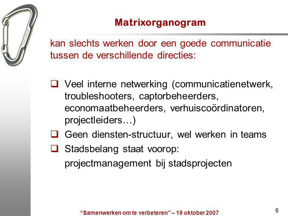 Samenwerken om te verbeteren – 19 oktober 2007 17 Contactgegevens 1.Mieck Vos mieckvos@kpmg.com tel.