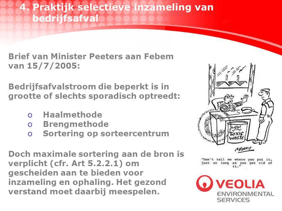 4. Praktijk selectieve inzameling van bedrijfsafval Brief van Minister Peeters aan Febem van 15/7/2005: Bedrijfsafvalstroom die beperkt is in grootte