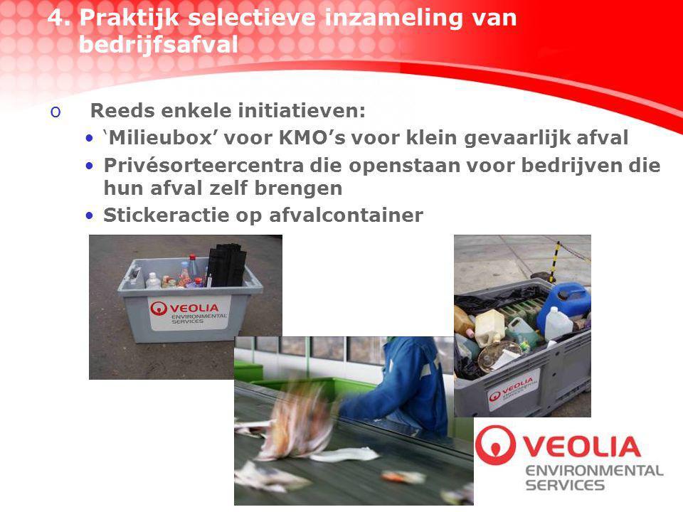 oReeds enkele initiatieven: 'Milieubox' voor KMO's voor klein gevaarlijk afval Privésorteercentra die openstaan voor bedrijven die hun afval zelf brengen Stickeractie op afvalcontainer 4.