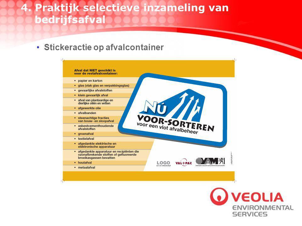 Stickeractie op afvalcontainer 4. Praktijk selectieve inzameling van bedrijfsafval