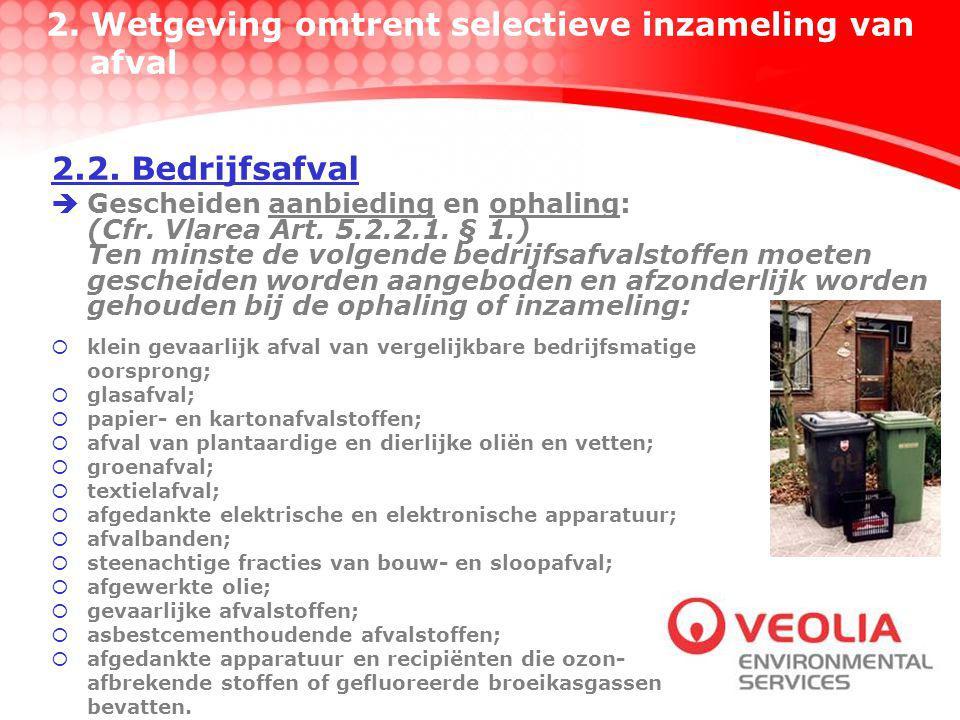  Gescheiden aanbieding en ophaling: (Cfr.Vlarea Art.