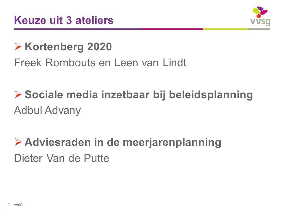 VVSG - Keuze uit 3 ateliers  Kortenberg 2020 Freek Rombouts en Leen van Lindt  Sociale media inzetbaar bij beleidsplanning Adbul Advany  Adviesraden in de meerjarenplanning Dieter Van de Putte 10 -