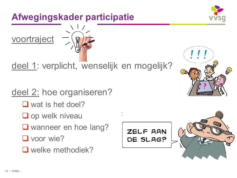 VVSG - Afwegingskader participatie voortraject deel 1: verplicht, wenselijk en mogelijk.