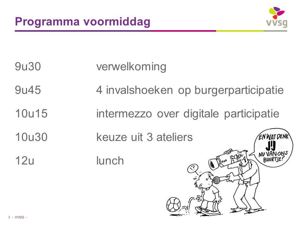 VVSG - Programma voormiddag 9u30 verwelkoming 9u45 4 invalshoeken op burgerparticipatie 10u15 intermezzo over digitale participatie 10u30 keuze uit 3 ateliers 12u lunch 3 -