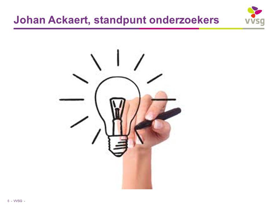 VVSG - Johan Ackaert, standpunt onderzoekers 6 -